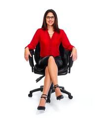 Sitting business woman.