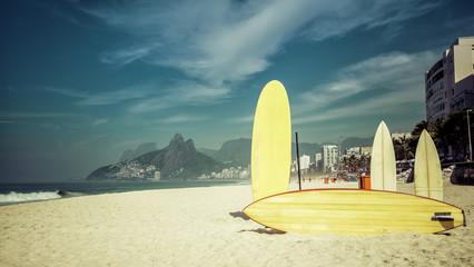 Surfboards in the sun on the beach, Rio de Janeiro Brazil