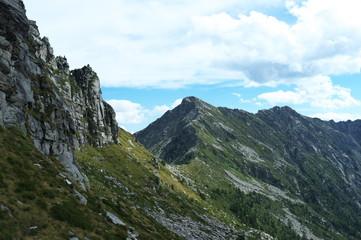 Mountain ridge in the Swiss Alps