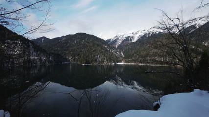 Mountain Lake Riza in the Republic of Abkhazia North Caucasus