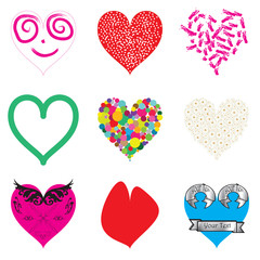 Set of 9 different hearts