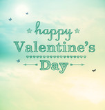 Happy valentines day with small butterflies poster