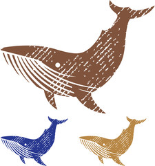 Grunge Whale vector