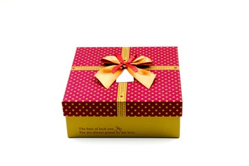 Purple Red Gift Box with Golden and Red Bow
