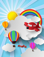 sunlight on cloud with hot air balloon and airplane