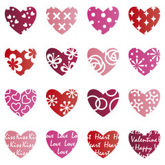 Set of lovely heart icons
