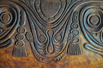 Antique Carved Wood Bas Relief
