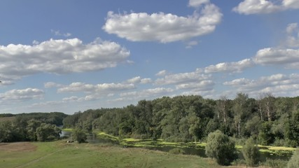 Time lapse clip of river and clouds