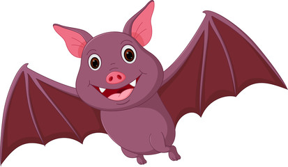 Happy Bat cartoon flying