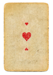 antique playing card ace of hearts paper background