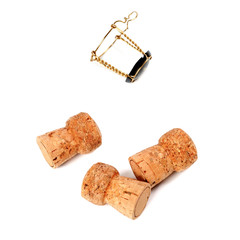 Three cork from champagne wine and muselet