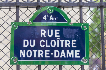 Road sign near Notre Dame,Paris