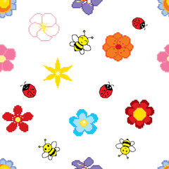 Seamless background of pixel art flowers, bees and ladybirds