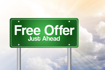 Free Offer Just Ahead Green Road Sign, business concept