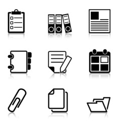 Document Office Icons with refection