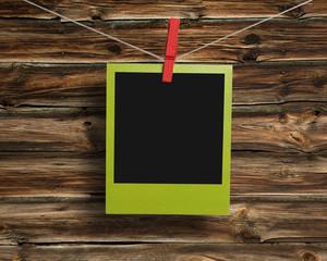 Green polaroid frame