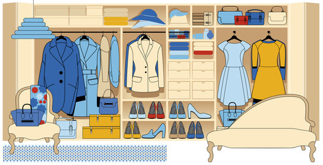 Wardrobe room with various shoes bags and clothes. WOMEN