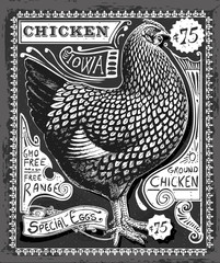 Vintage Poultry and Eggs Advertising on Blackboard