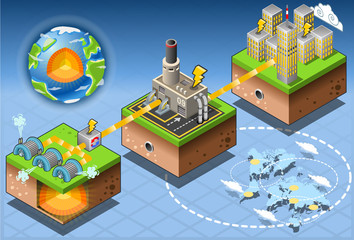 Isometric Infographic Geothermal Energy Harvesting Diagram
