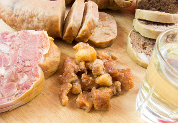 plum brandy and traditional pork dishes