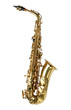 Alto sax golden saxophone isolated on white background. - 75527537