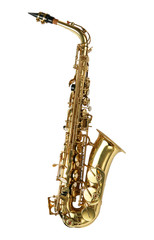 Alto sax golden saxophone isolated on white background.