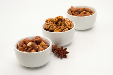 Mixture of nuts in bowls