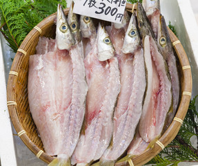 Fresh filleted fish in a Japanese market