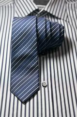 Tie on striped shirt
