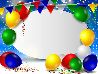 birthday background with balloons and sign