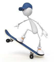 white little man on a skateboard