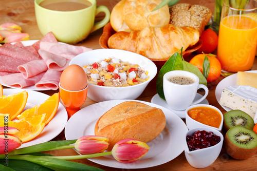 Keuken foto achterwand Boord Leckeres Frühstück