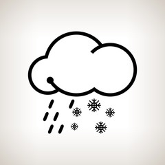 Silhouette cloud with snowflakes and rain , vector illustration