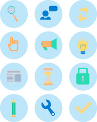 Modern flat icons vector collection in stylish colors of web