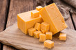 canvas print picture - Portion of Cheddar