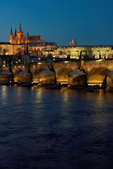 Prague Castle with Charles Bridge in the evening,