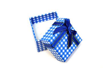 Open blue gift box on white
