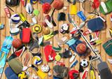 Sports equipment has fallen down in a heap in the gym - 75530735