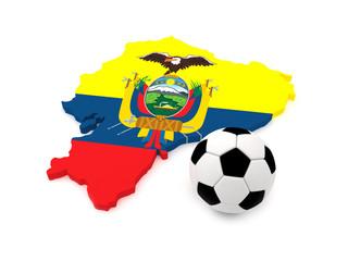 Ecuador map with soccer ball