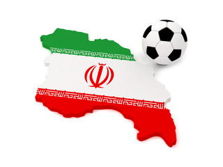 Iran map with soccer ball