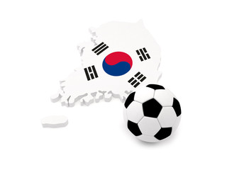 Korea Map with soccer ball