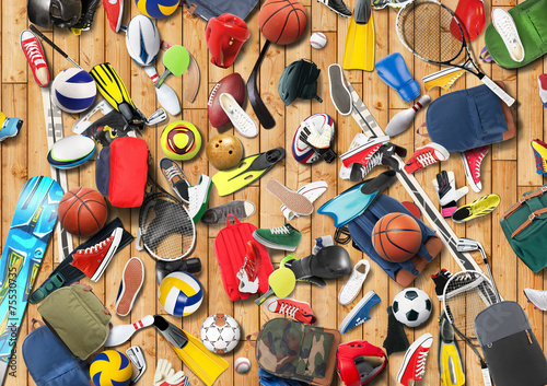 Sports equipment has fallen down in a heap in the gym - 75530735
