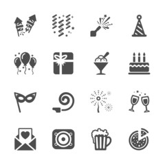 new year party icon set 6, vector eps10