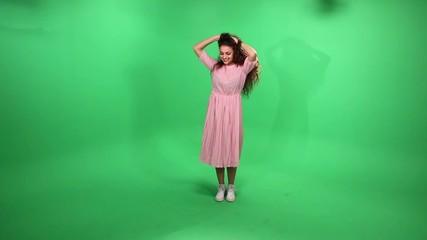 Girl fly on green screen