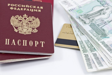 passport, large banknotes and gold credit card