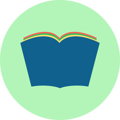Book  open, read, reading vector flat design icon in a circle