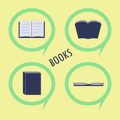 Book, read, reading vector flat design icon in a circle set