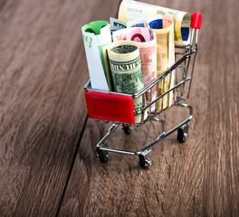 Shopping cart full of money (dollar, euro )
