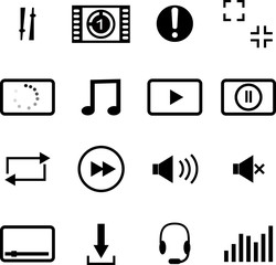 flat icons audio, media player