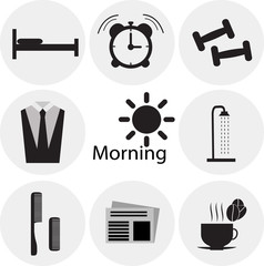 Morning time, morning occupation icons set. Flat design vector.